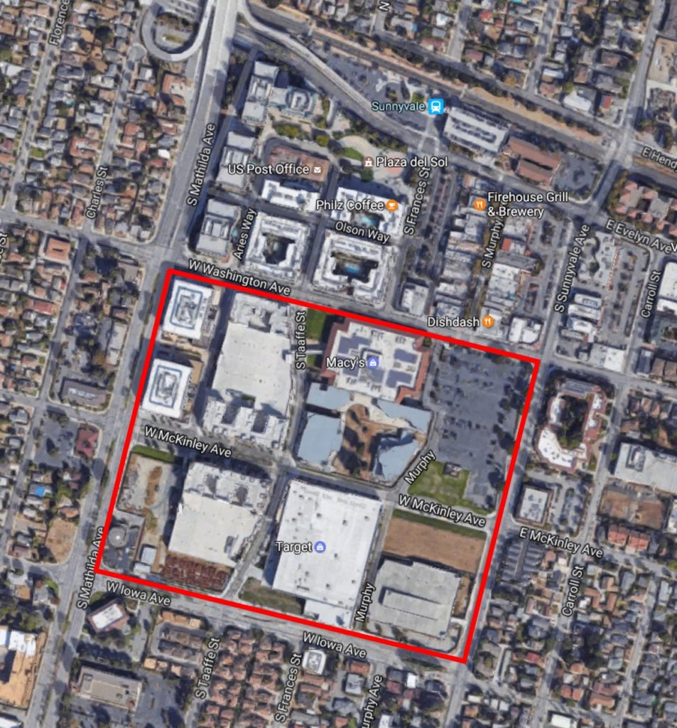 Arial photo of Sunnyvale Town Center project